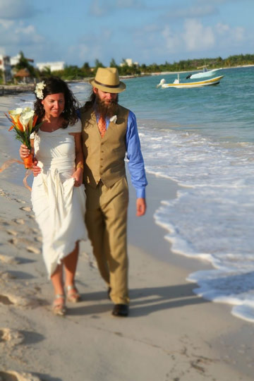 Wedding stroll down the beach